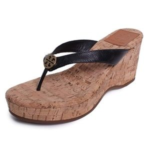 4439be4bcde0 Tory Burch Suzy Cork Wedge Thong Sandals - Black